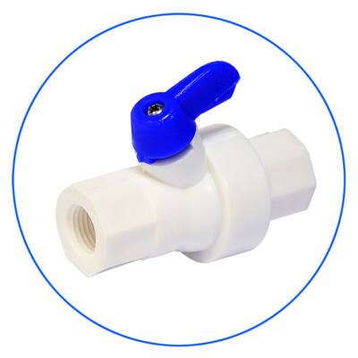 Fehér műanyyag golyós csap 2 x 1/4″ belső menetes csatlakozással