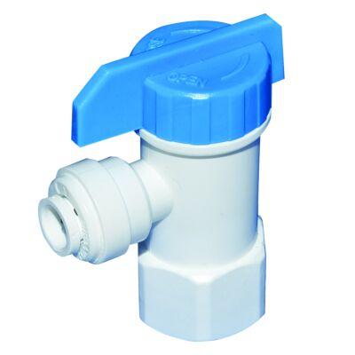 Fehér műanyag RO tartály csap 1/4″ cső és 1/4″ belső menetes csatlakozással