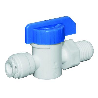 Fehér műanyag golyós csap 1/4″ cső és 1/4″ külső menetes csatlakozással